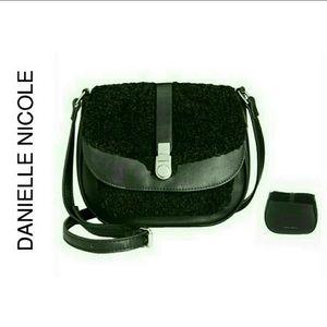Black Vegan Leather Crossbody Handbag NWT
